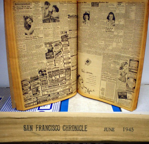 SAN FRANCISCO CHRONICLE BOUND VOLUME JUNE 1945, 3.0 GD/VG