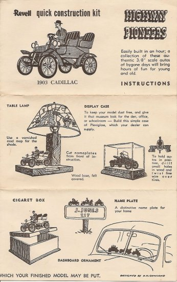 Inst Sheet 1903 Cadillac Highway Pioneers