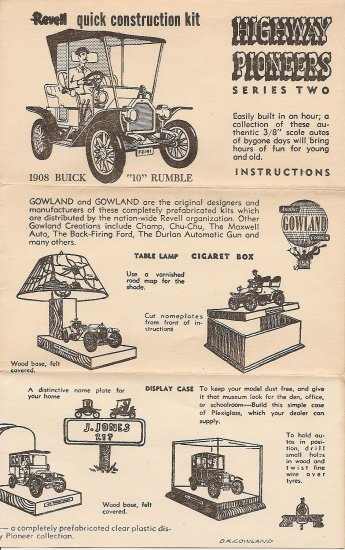 Inst Sheet 1908 Buick 10 Rumble