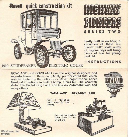 Inst Sheet 1910 Studebaker Electric