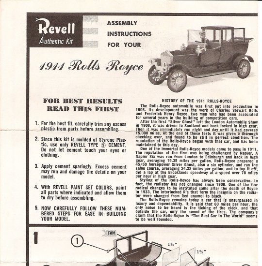 Inst Sheet 1911 Rolls Royce