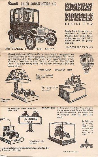 Inst Sheet 1915 Model T Ford Sedan