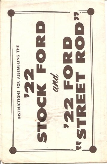Inst Sheet 1922 Stock Ford Street Rod