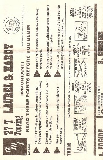 Inst Sheet 1927 T Laurel & Hardy Touring