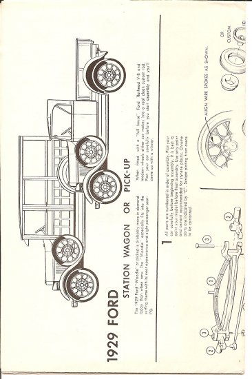 Inst Sheet 1929 Ford Wagon or Pick up