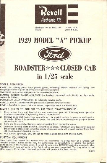 Inst Sheet 1929 Model A Pickup
