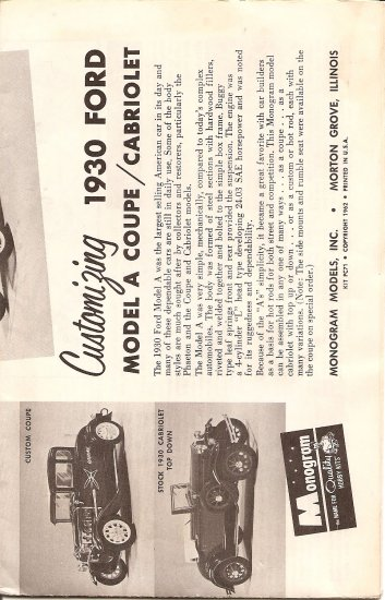 Inst Sheet 1930 Ford Model A coupe Cabriolet