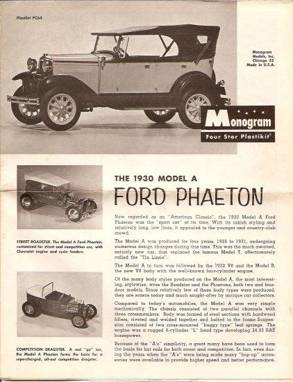Inst Sheet 1930 Model A Ford Phaeton