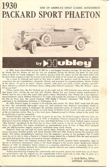 Inst Sheet 1930 Packard Sport Phaeton