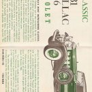 Inst Sheet 1931 Cadillac V 16 Cabriolet