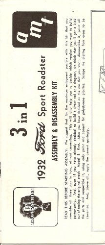 Inst Sheet 1932 Ford Sport Roadster 3 in 1