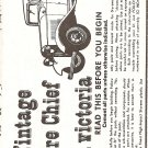 Inst Sheet 1932 Ford Victoria Fire Chief