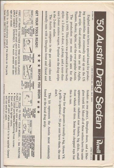 Inst Sheet 1950 Austin Drag Sedan