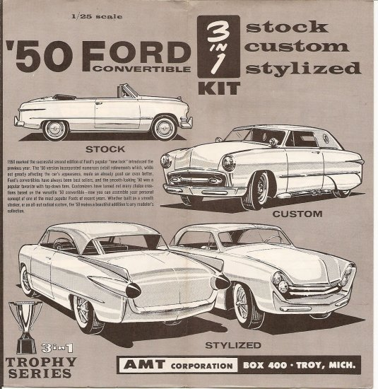 Inst Sheet 1950 Ford Convertible 3 in 1
