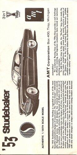 Inst Sheet 1953 Studebaker 3 in 1 Trophy Series