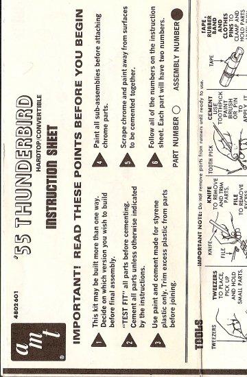 Inst Sheet 1955 Thunderbird