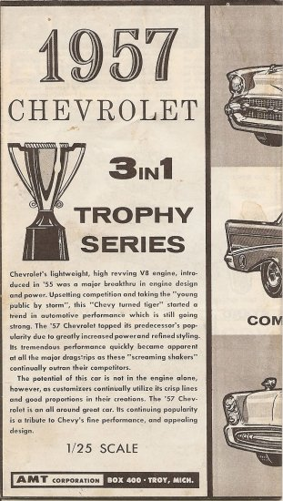 Inst Sheet 1957 Chev 3 in 1 Trophy Series