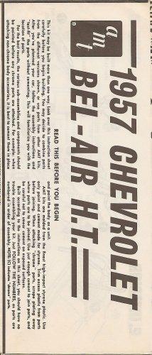 Inst Sheet 1957 Chev Bel Air HT