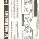 Inst Sheet 1957 Ford Ranchero