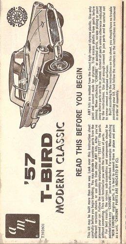 Inst Sheet 1957 T Bird Mod Classic
