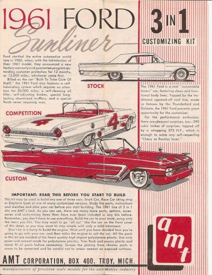 Inst Sheet 1961 Ford Sunliner 3 in 1