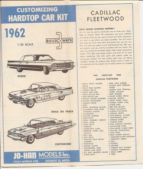 Inst Sheet 1962 Cad Fleetwood Build 3 Way