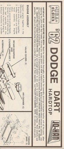 Inst Sheet 1962 Dodge Hardtop Dart