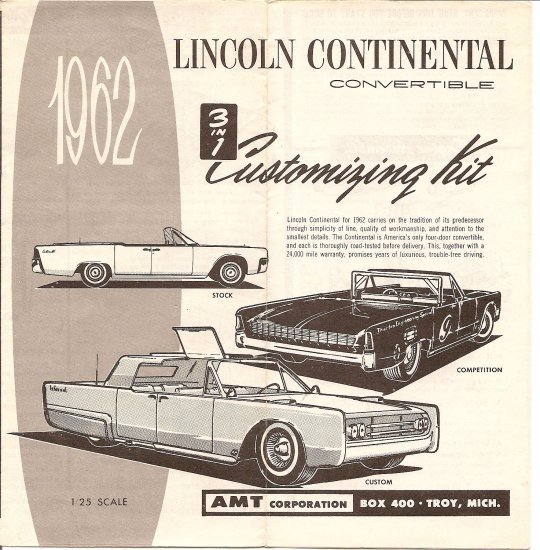 Inst Sheet 1962 Lincoln Continental Convertible 3 in 1