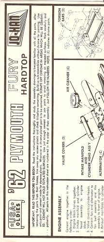 Inst Sheet 1962 Plymouth Fury Hardtop
