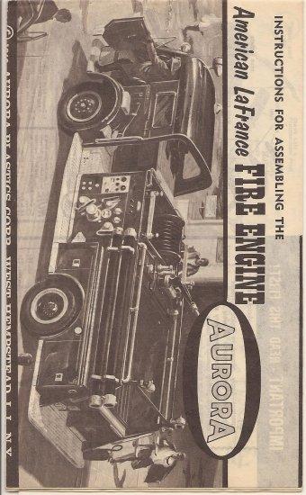 Inst Sheet 1963 American La France Fire Engine