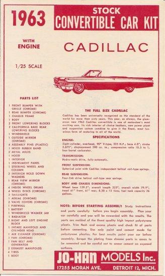 Inst Sheet 1963 Cadillac Conv