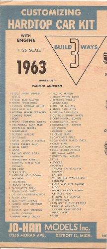 Inst Sheet 1963 Rambler American Hardtop