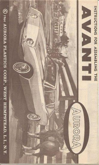Inst Sheet 1964 Avanti