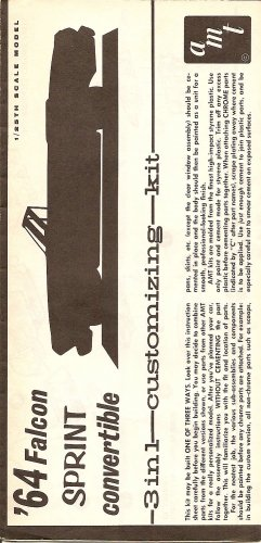 Inst Sheet 1964 Falcon Sprint Conv 3 in 1