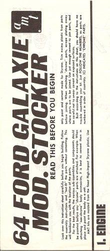 Inst Sheet 1964 Ford Galaxie Mod Stocker