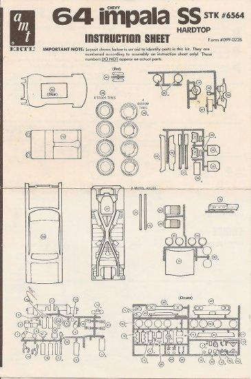 Inst Sheet 1964 Impala SS