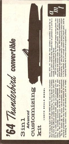Inst Sheet 1964 Thunderbird Conv 3 in 1