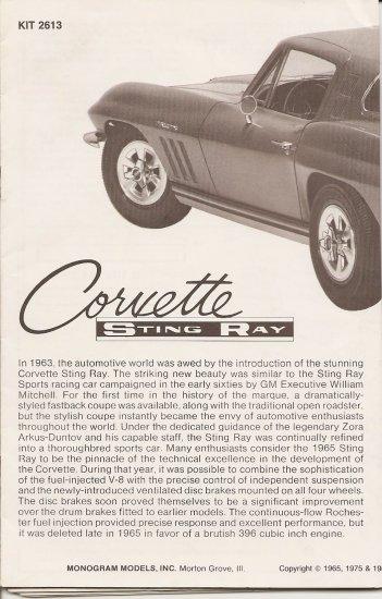 Inst Sheet 1965 Corvette Sting Ray