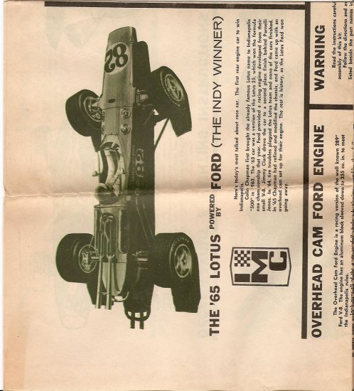 Inst Sheet 1965 Lotus Indy Winner