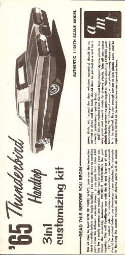 Inst Sheet 1965 Thunderbird 3 in 1