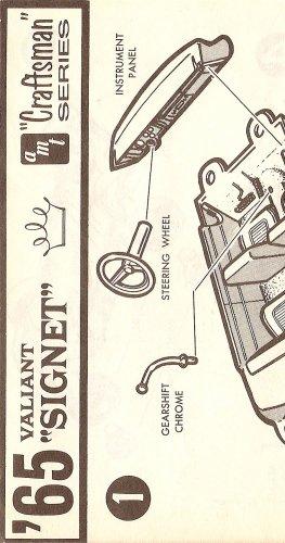 Inst Sheet 1965 Valiant Signet Craftsman Ser