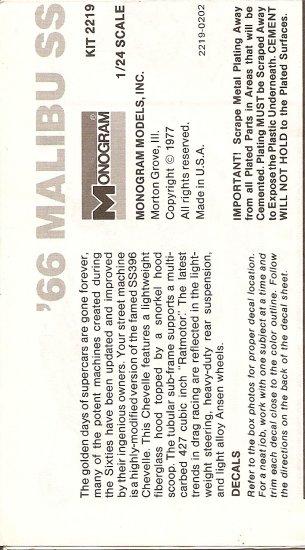 Inst Sheet 1966 Malibu SS