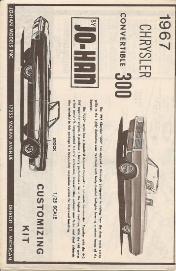 Inst Sheet 1967 Chrysler Conv 300