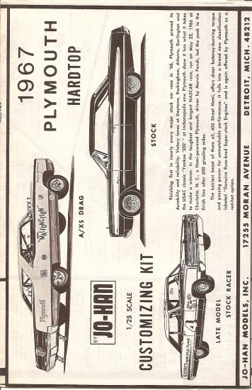 Inst Sheet 1967 Plymouth Hardtop