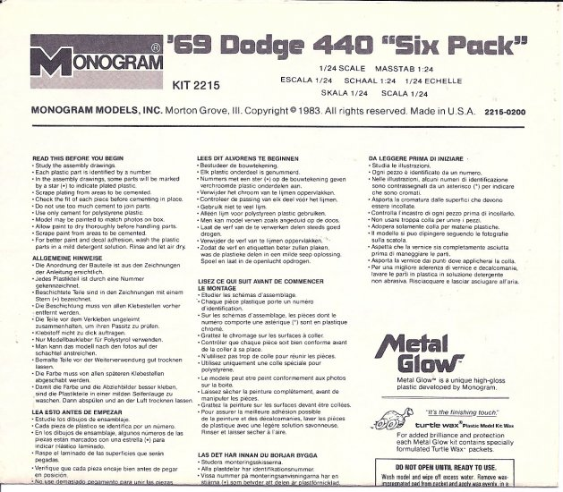 Inst Sheet 1969 Dodge 440 Six Pack