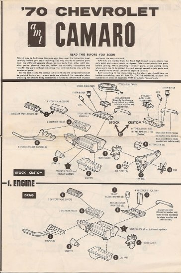 Inst Sheet 1970 Chev Camaro
