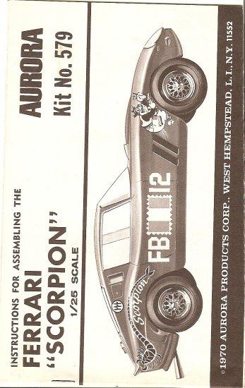 Inst Sheet 1970 Ferrari Scorpion