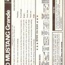 Inst Sheet 1970 Mustang Grande