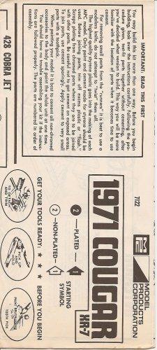 Inst Sheet 1971 Cougar XR7
