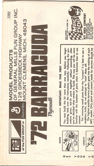 Inst Sheet 1972 Barracuda